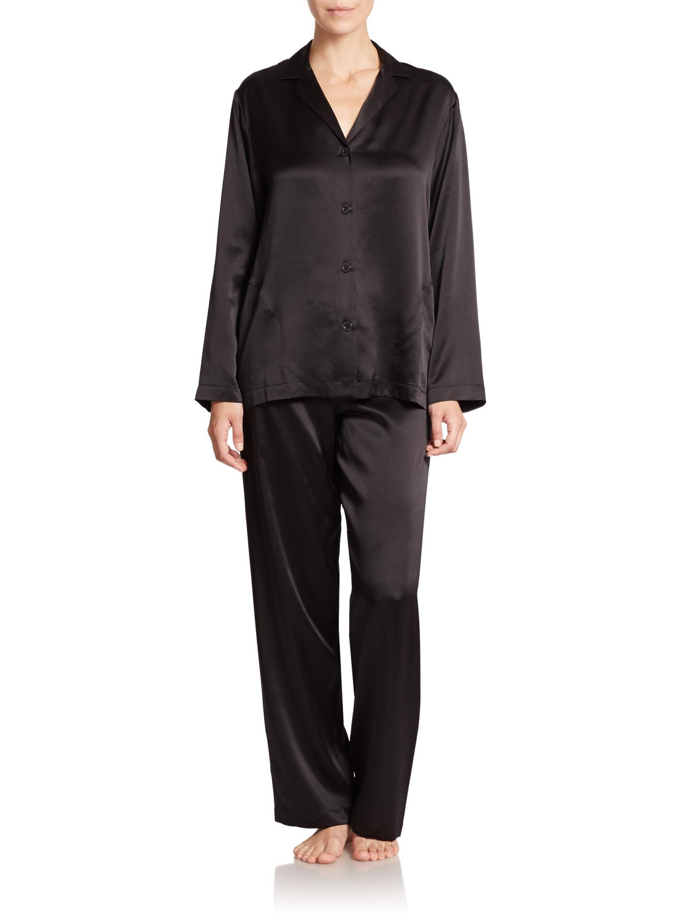 Black Silk Pajamas: La Perla Silk Pajamas In Black