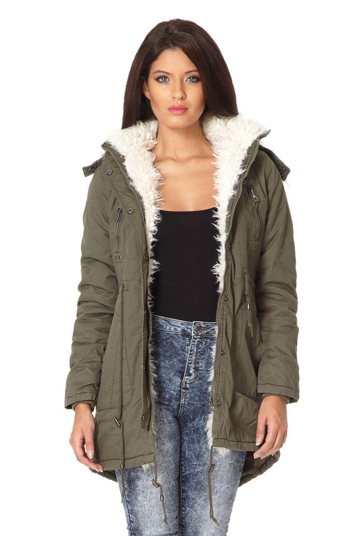 Lyst Quiz Faux Fur Trim Hooded Parka Jacket In Green