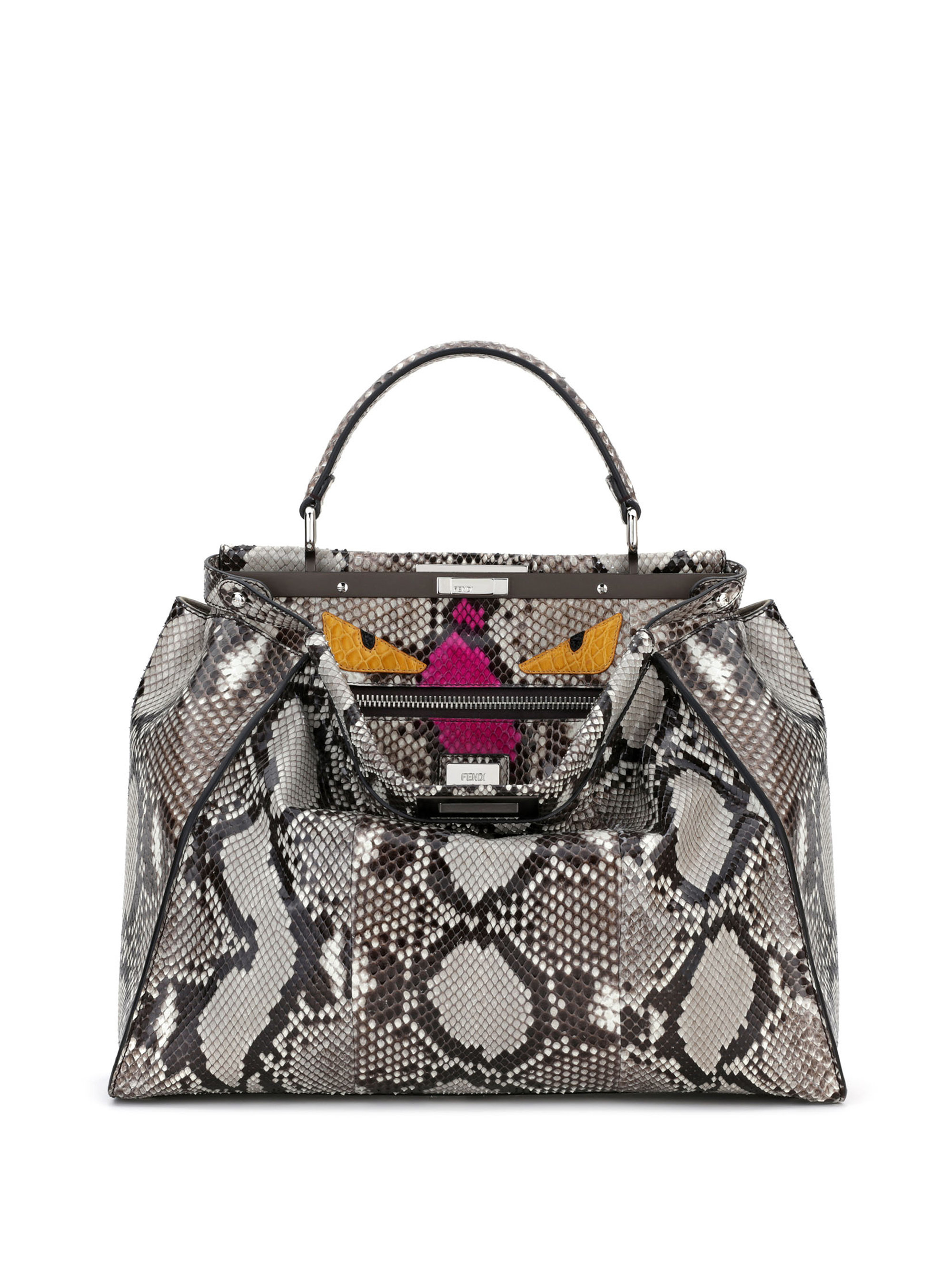 60365220f3cb Lyst - Fendi Peekaboo Python Leather Satchel in Gray