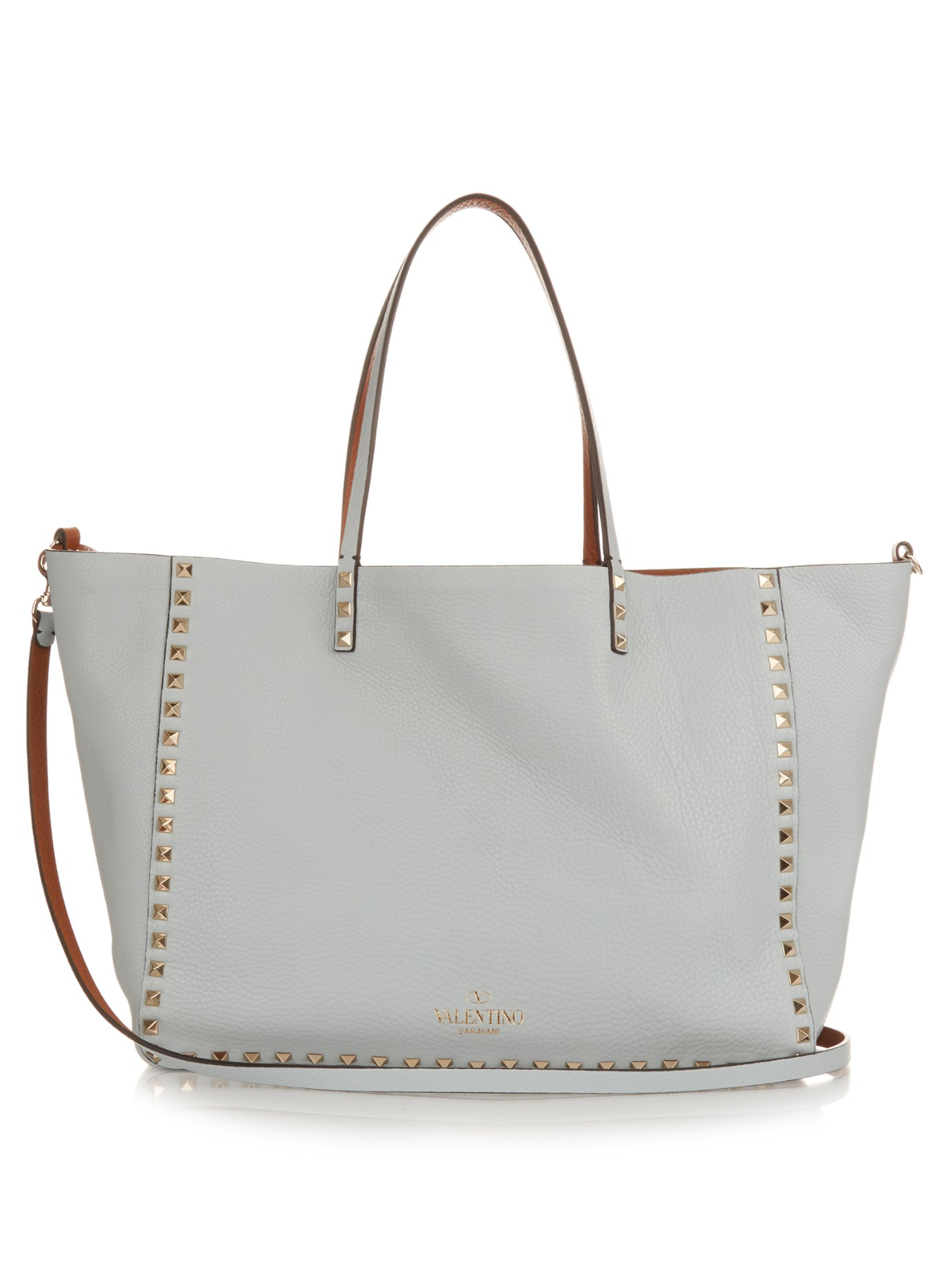 55a7d53091 Valentino Rockstud Double Reversible Medium Tote in Blue - Lyst