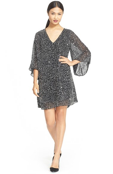 Alice   olivia 'shary' Sheer Sequin Tunic Dress in Black | Lyst