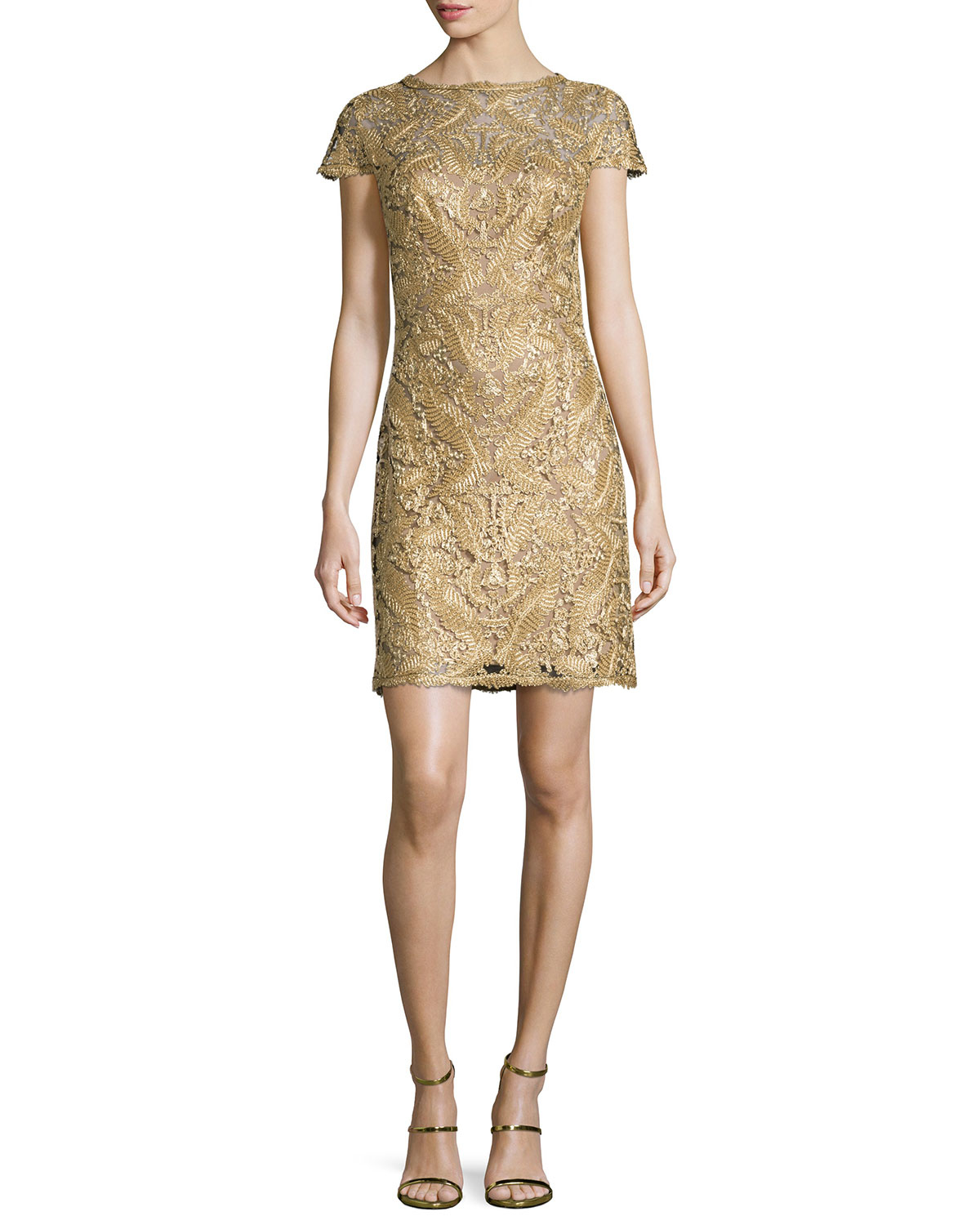 Tadashi shoji Filigree-Lace Shift Dress in Metallic
