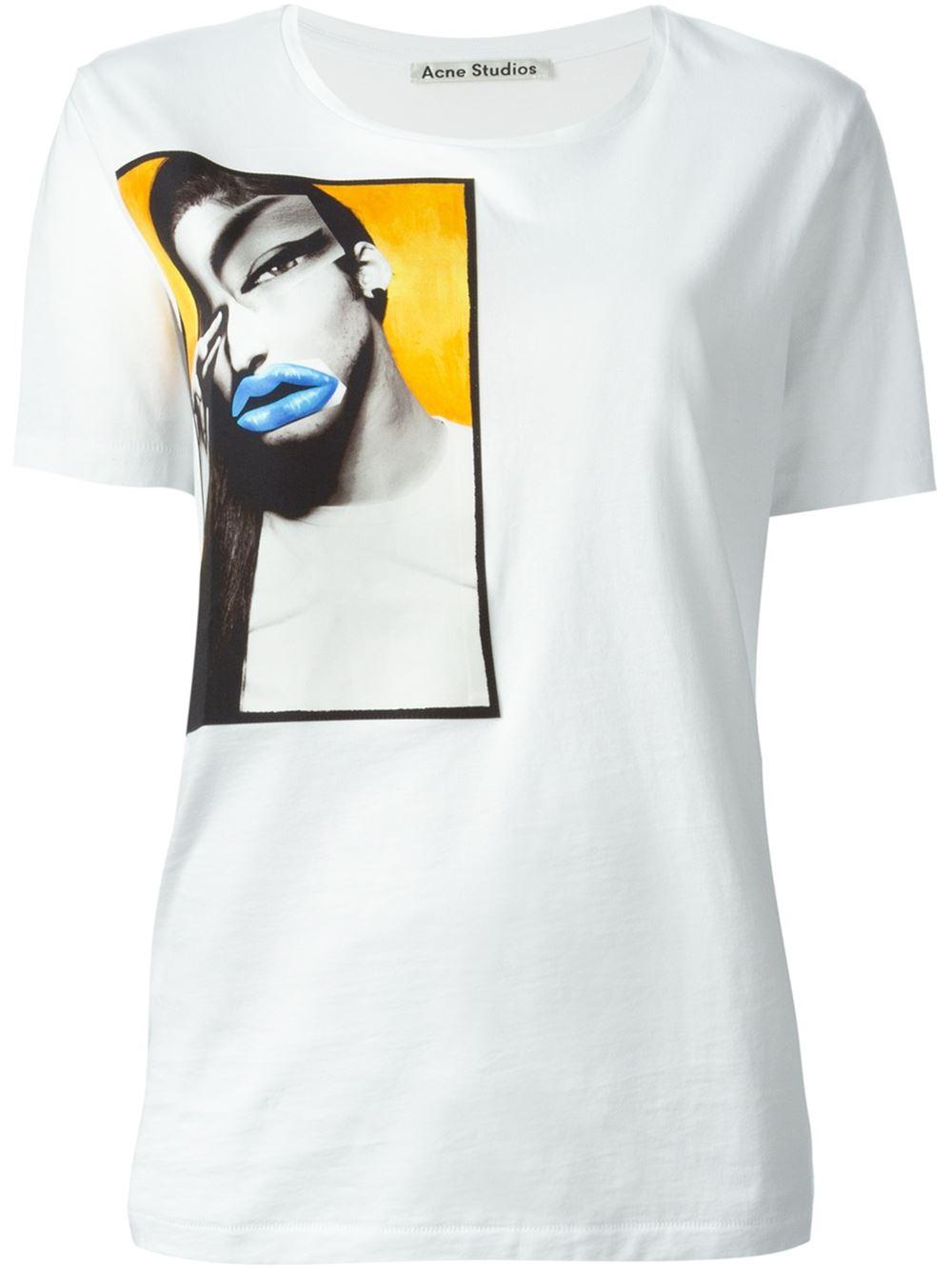 Lyst Acne Studios Vista Portrait Print T Shirt In White