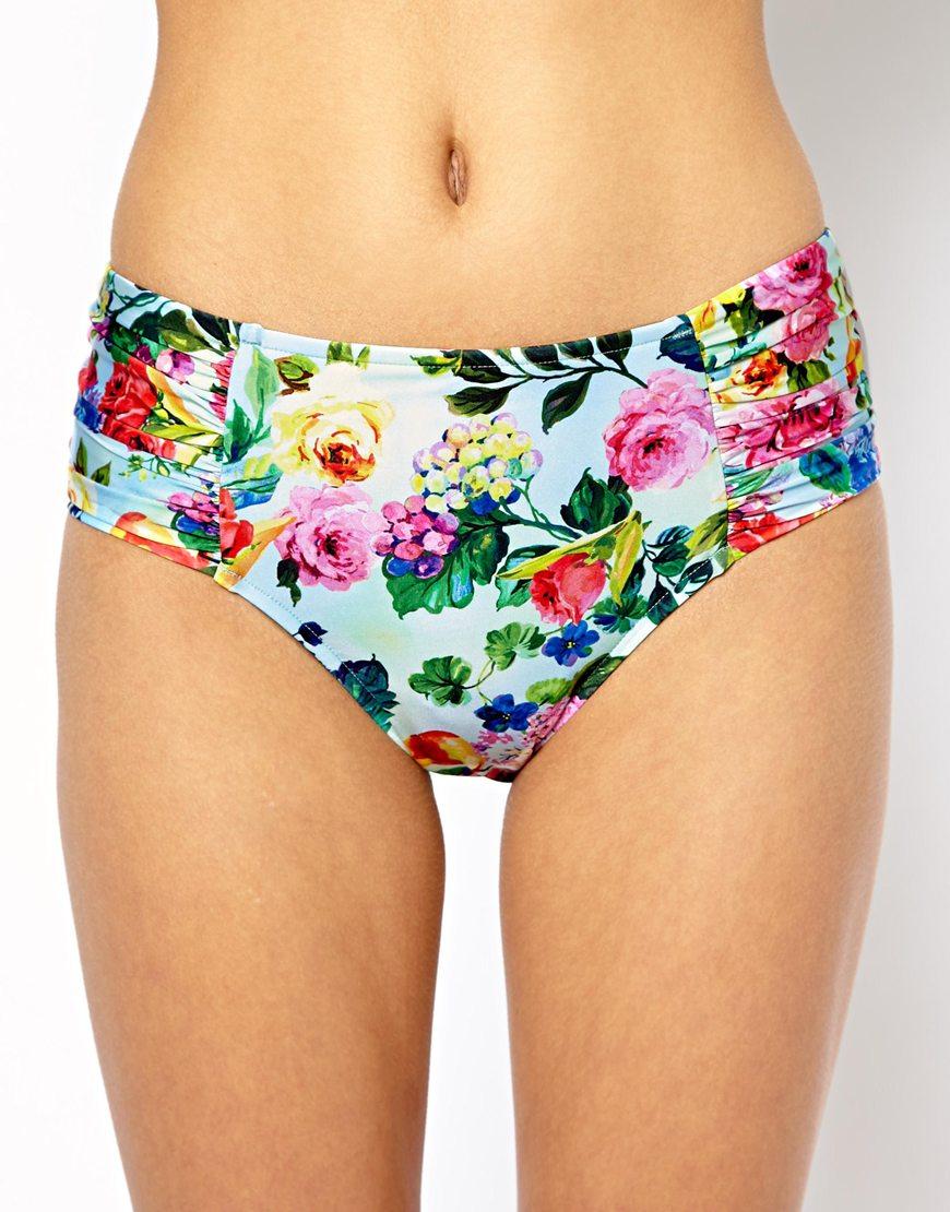 bb7213f8fe Seafolly Summer Garden Ruched Side Retro Bikini Bottoms - Lyst