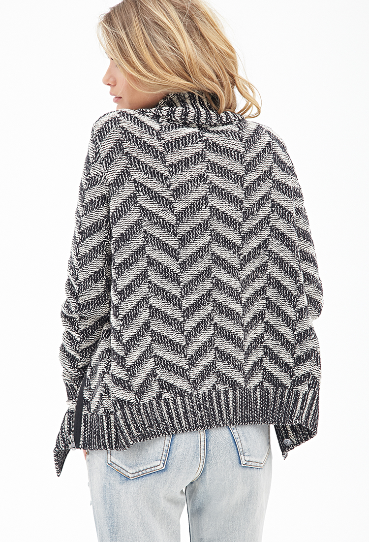 Knitting Pattern Zippered Cardigan : Forever 21 Chevron-knit Zippered Cardigan in Black Lyst