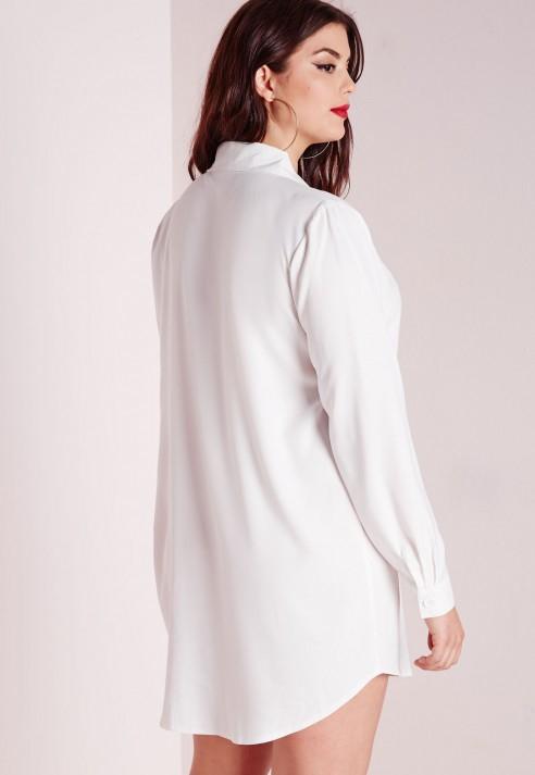 Missguided Plus Size Tuxedo Shirt Dress White in White - Lyst