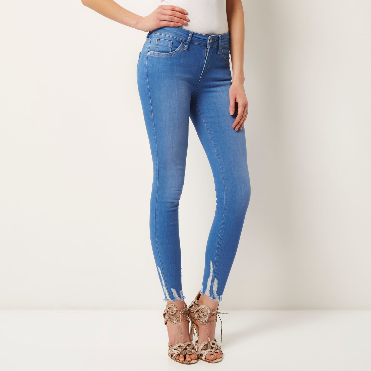 River island Bright Blue Raw Hem Amelie Super Skinny Jeans in Blue ...