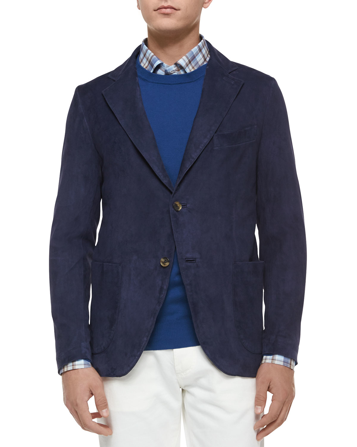 Isaia Two-button Suede Blazer in Blue for Men | Lyst