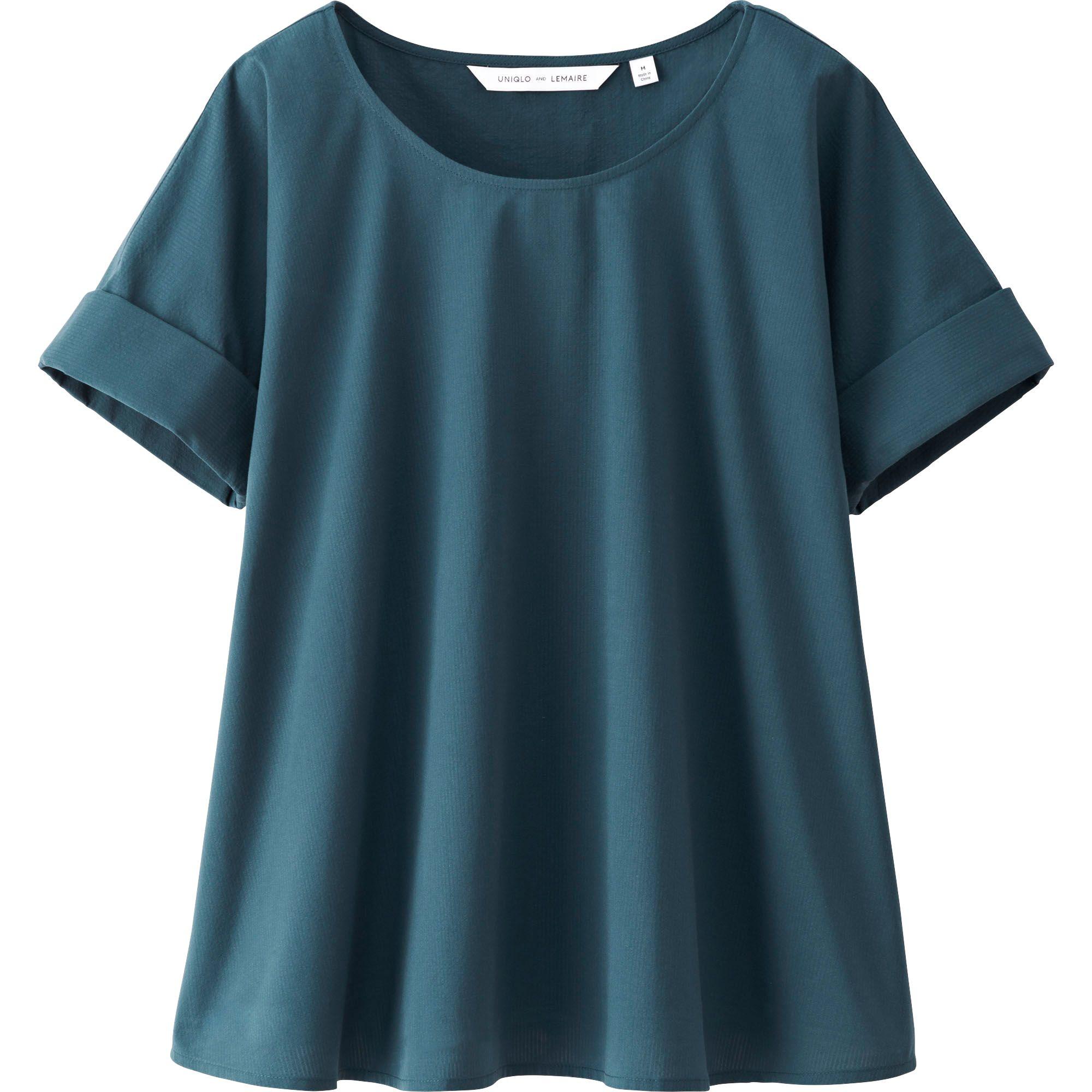 Womens Blue Short Sleeve Blouse 30