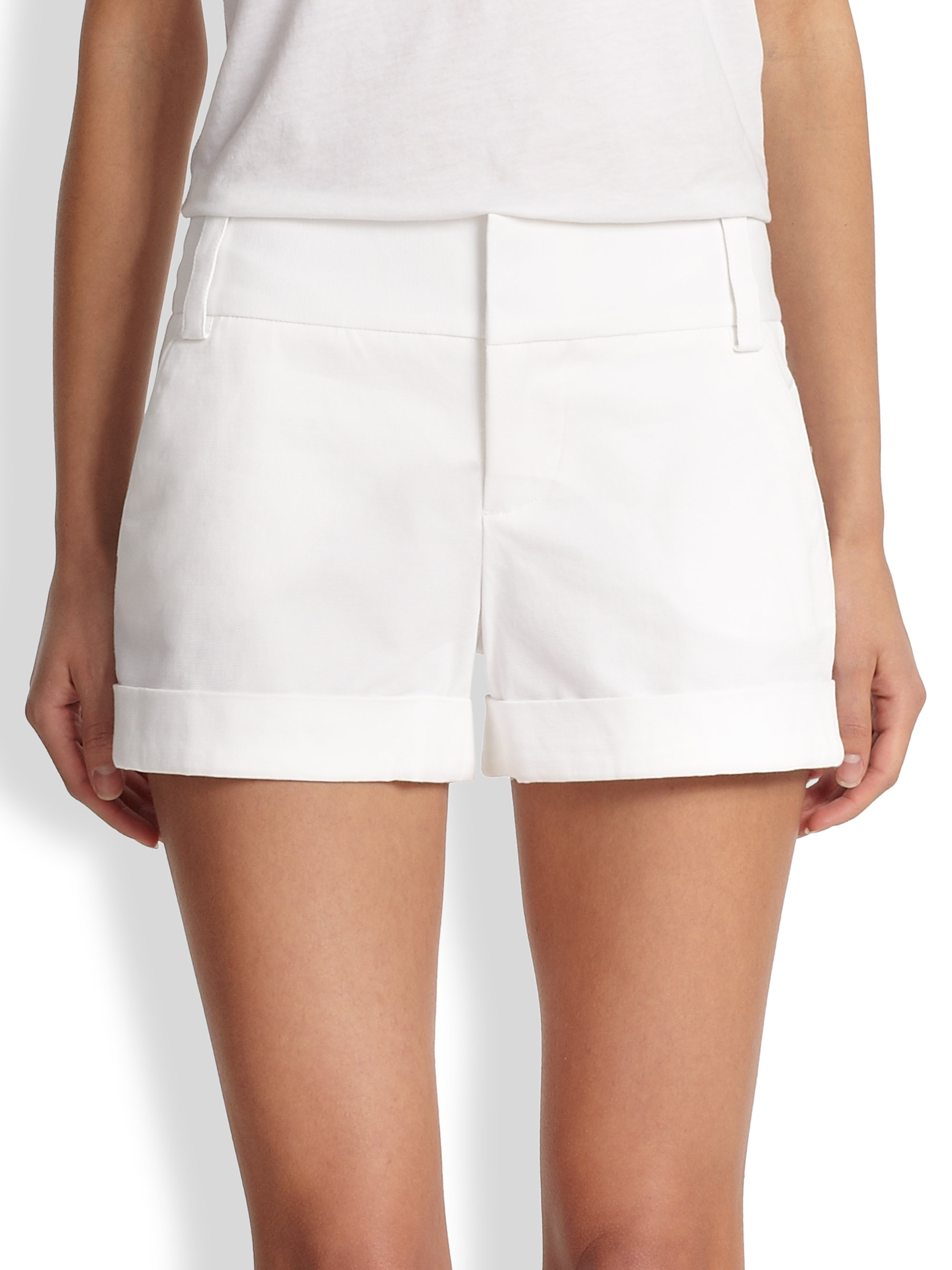 Alice   olivia Cady Cuffed Shorts in White | Lyst