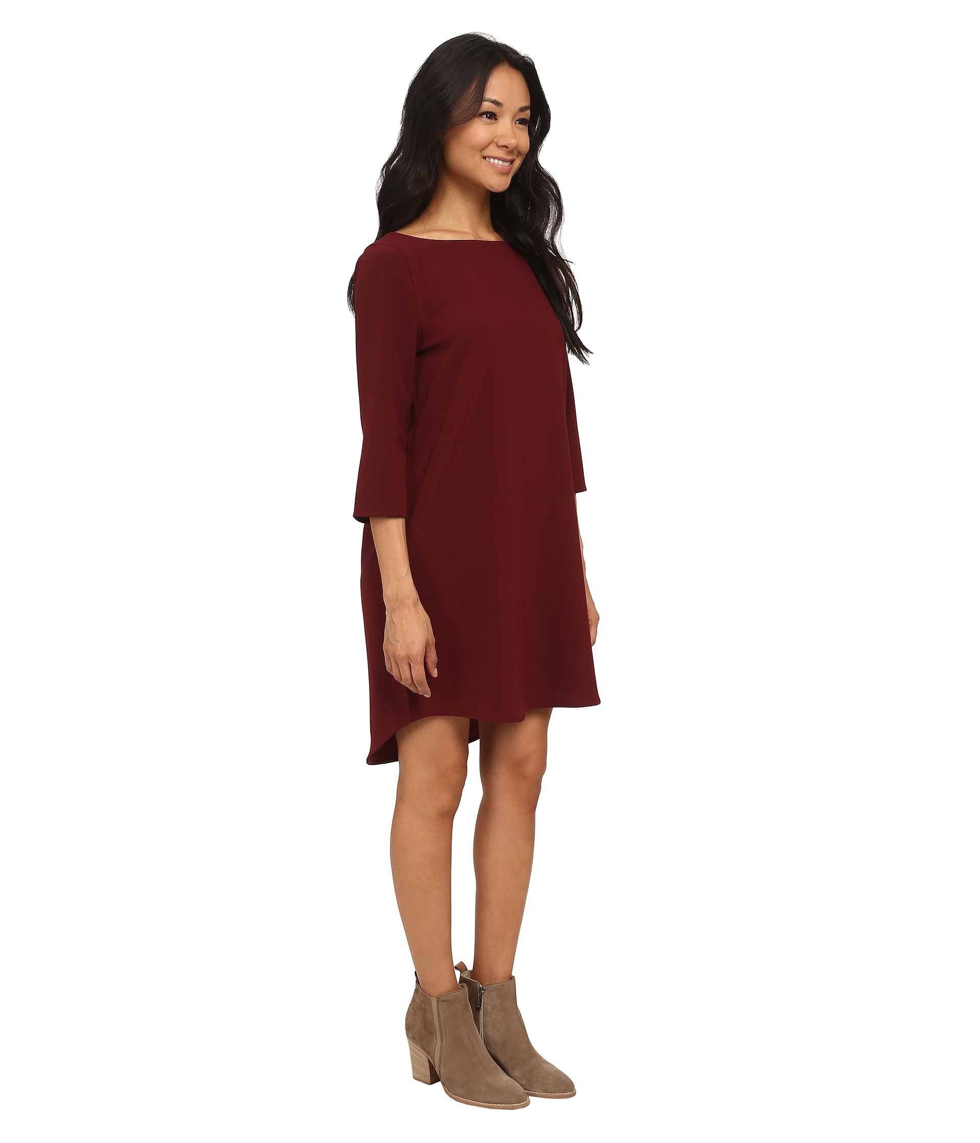 Lyst - BB Dakota Devin Long Sleeve Crepe Shift Dress in Red cb0759898