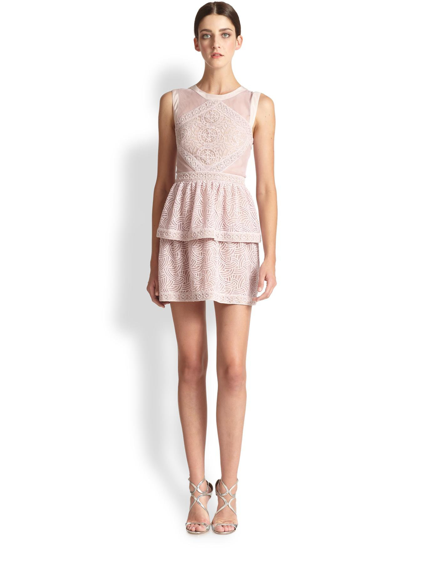 Bcbgmaxazria Joselyn Lace Dress in Pink   Lyst