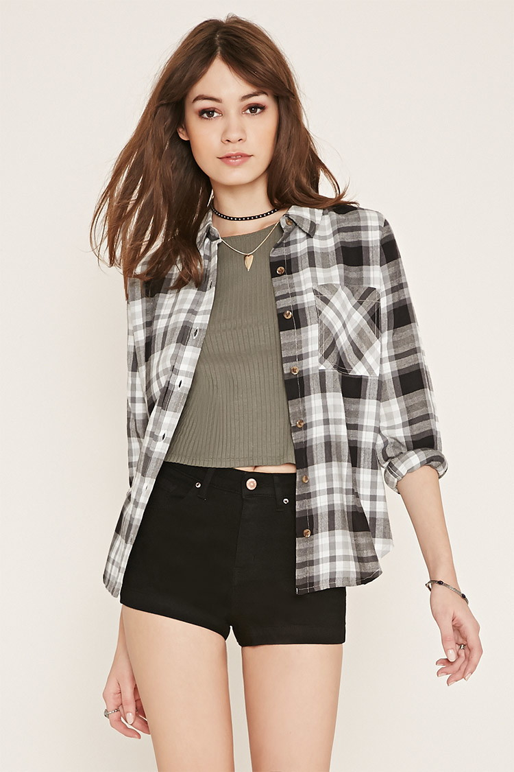Forever 21 check flannel shirt in gray lyst for Grey plaid shirt womens