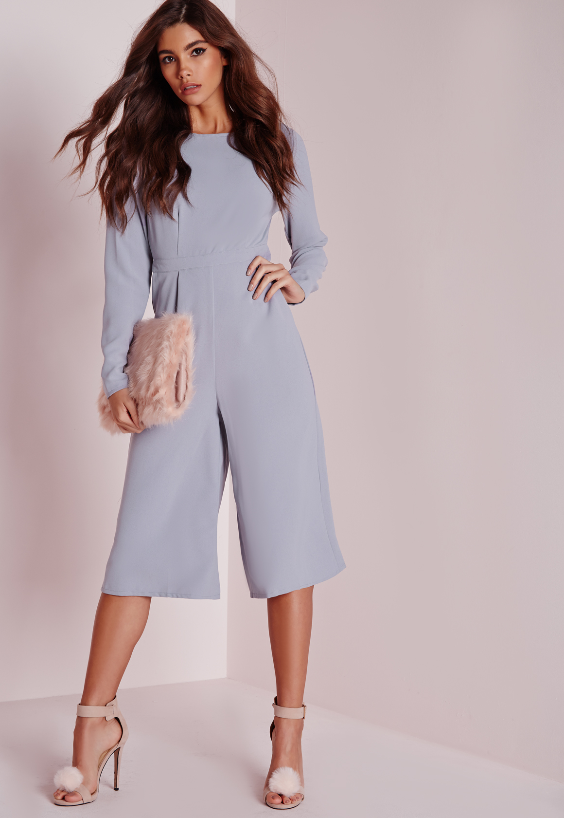 cf94505c001 Missguided Open Back Long Sleeve Culotte Jumpsuit Grey in Gray - Lyst