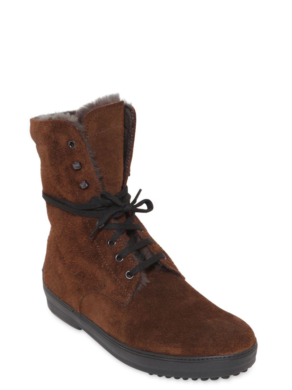 Lyst Tod S Shearling Lace Up Boots In Brown For Men