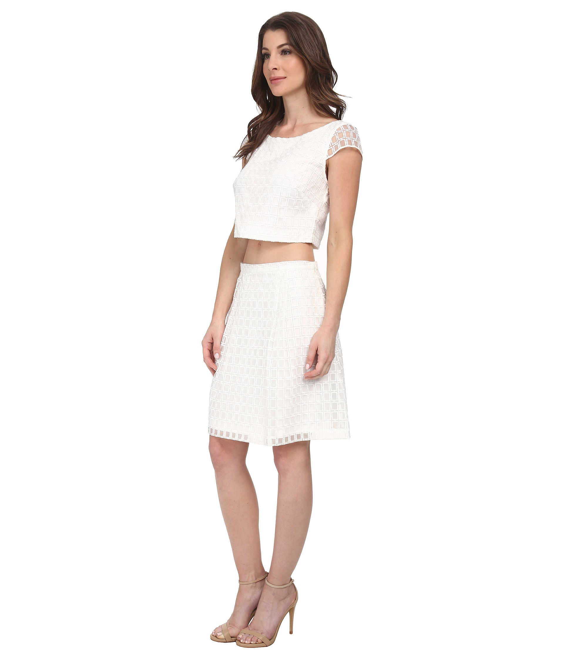 Jessica simpson two piece fit and flare dress in white lyst gallery ombrellifo Gallery