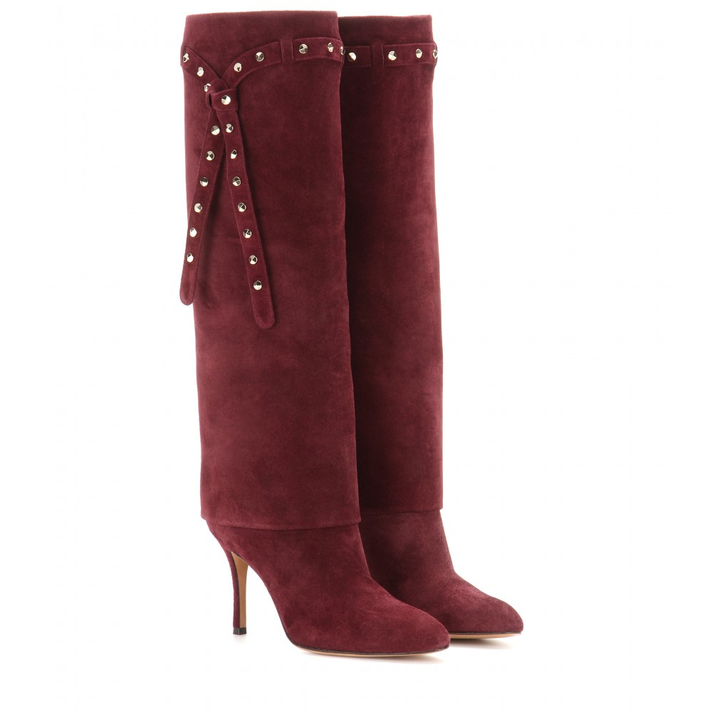 valentino embellished suede knee high boots in brown lyst