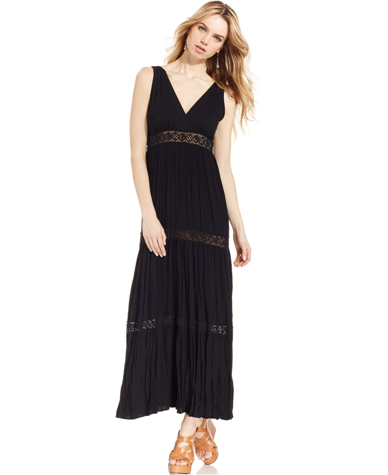 Karen kane Karen By Tiered Maxi Dress in Black | Lyst
