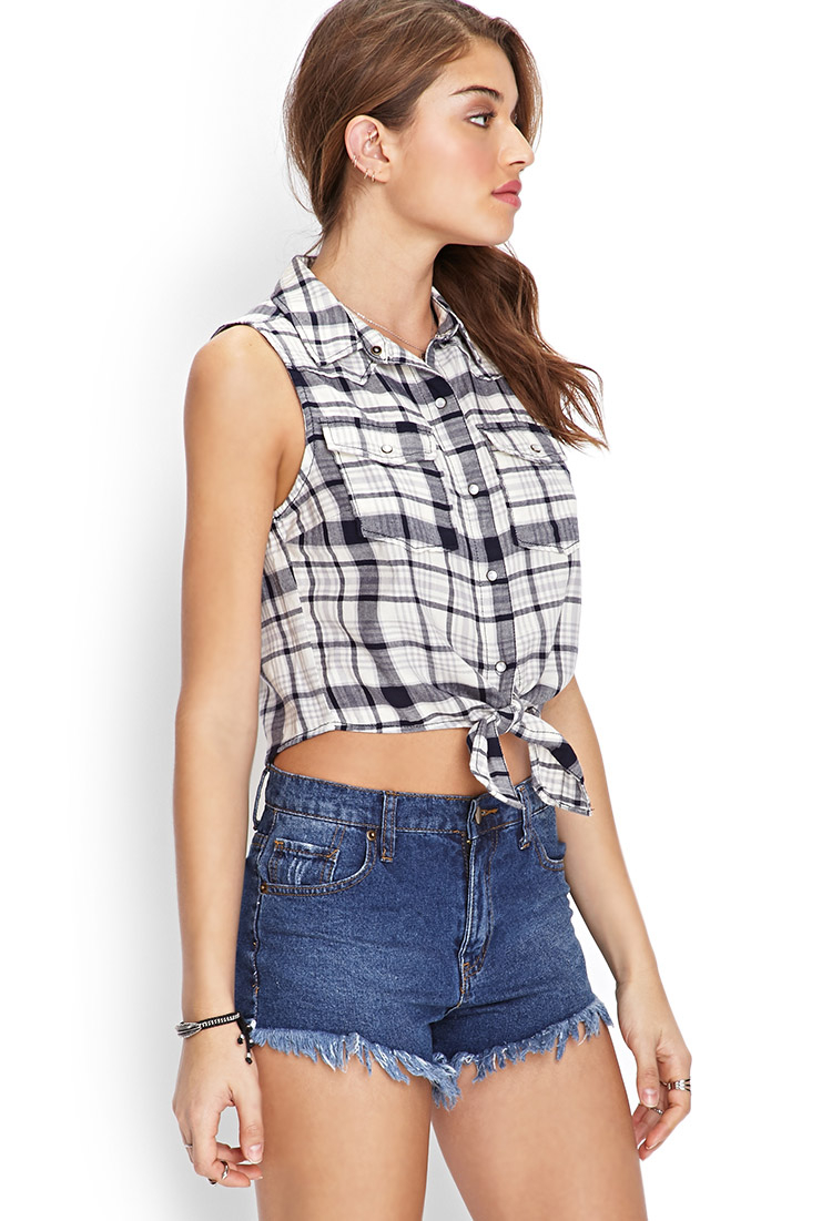 Lyst forever 21 self tie plaid shirt in gray for Grey plaid shirt womens