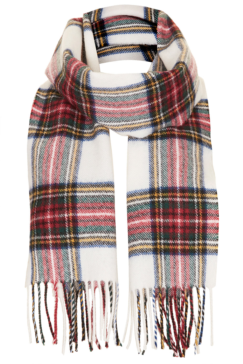 fc5801e79 Topshop Stewart Lochcarron Check Scarf in Natural - Lyst