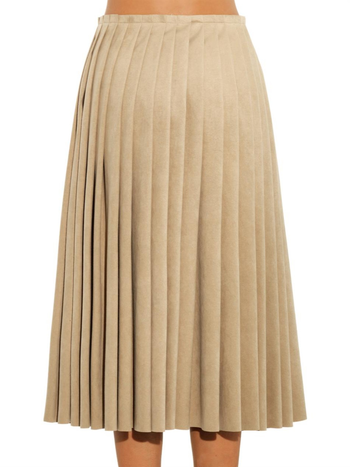 8e6591c98 Acne Studios Kensington Faux-Suede Pleated Skirt in Natural - Lyst