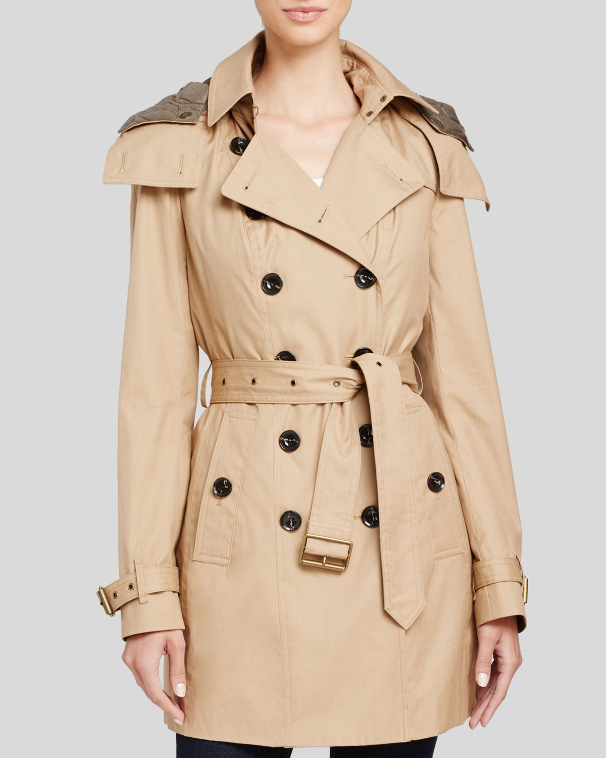 burberry brit reymoore hooded cotton trench coat in beige. Black Bedroom Furniture Sets. Home Design Ideas