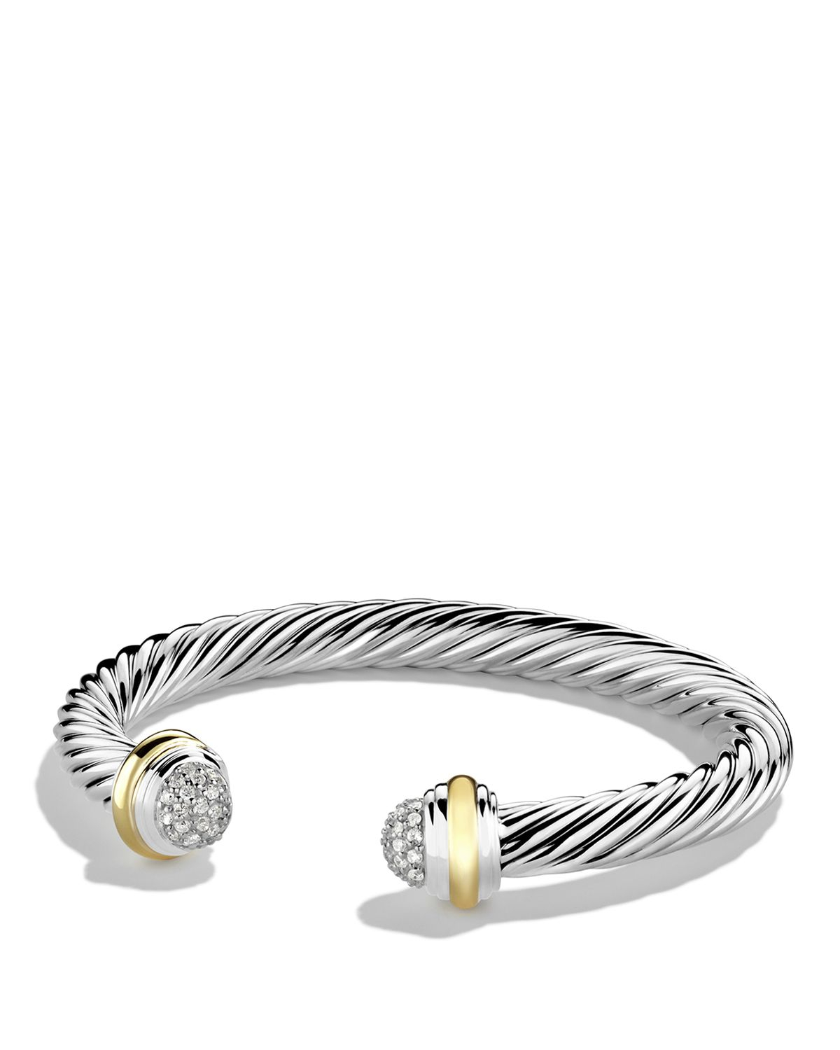 Lyst david yurman cable classics bracelet with diamonds for David yurman inspired bracelet cable