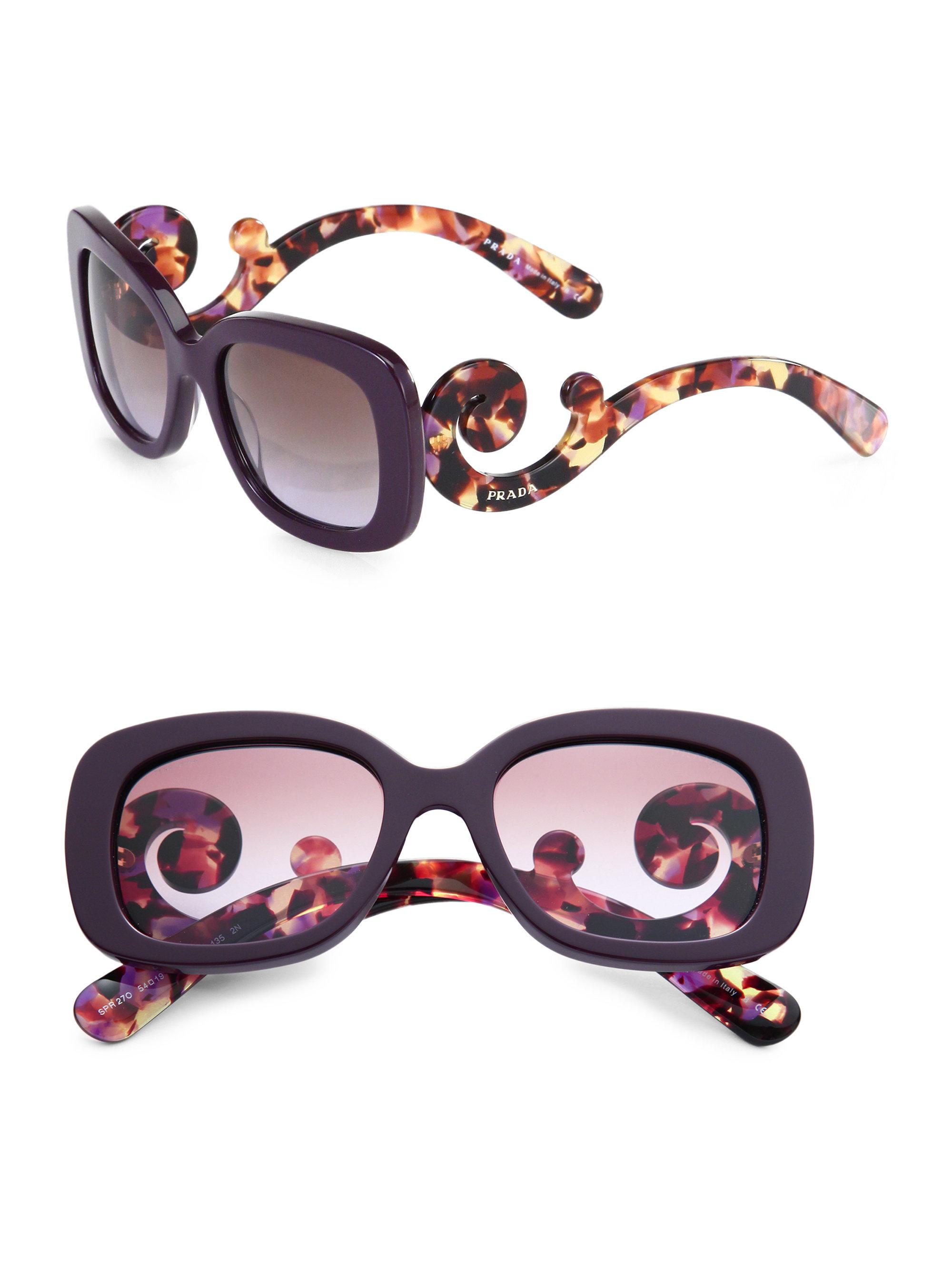 2ba38533659f ... best price lyst prada baroque square sunglasses in purple 78007 500ad