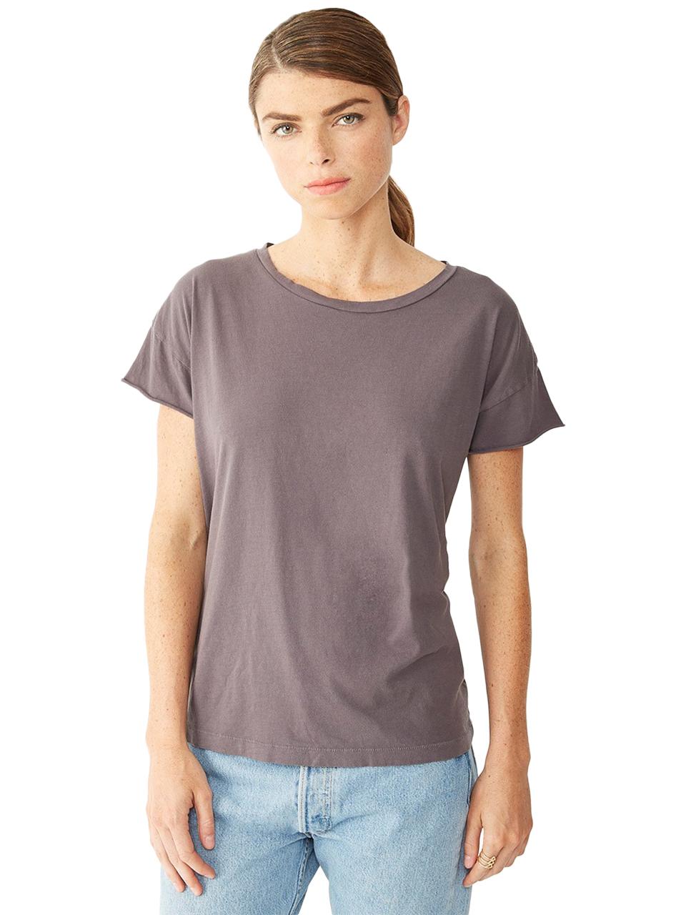 alternative apparel rocker garment dyed t shirt in black