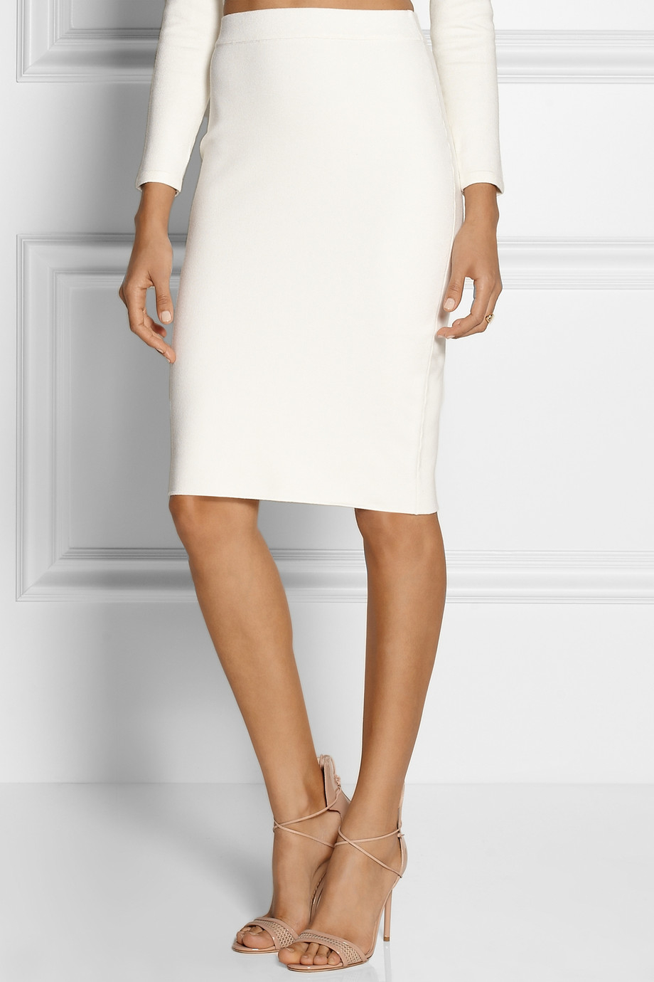 Jonathan simkhai Stretch-Knit Pencil Skirt in White | Lyst