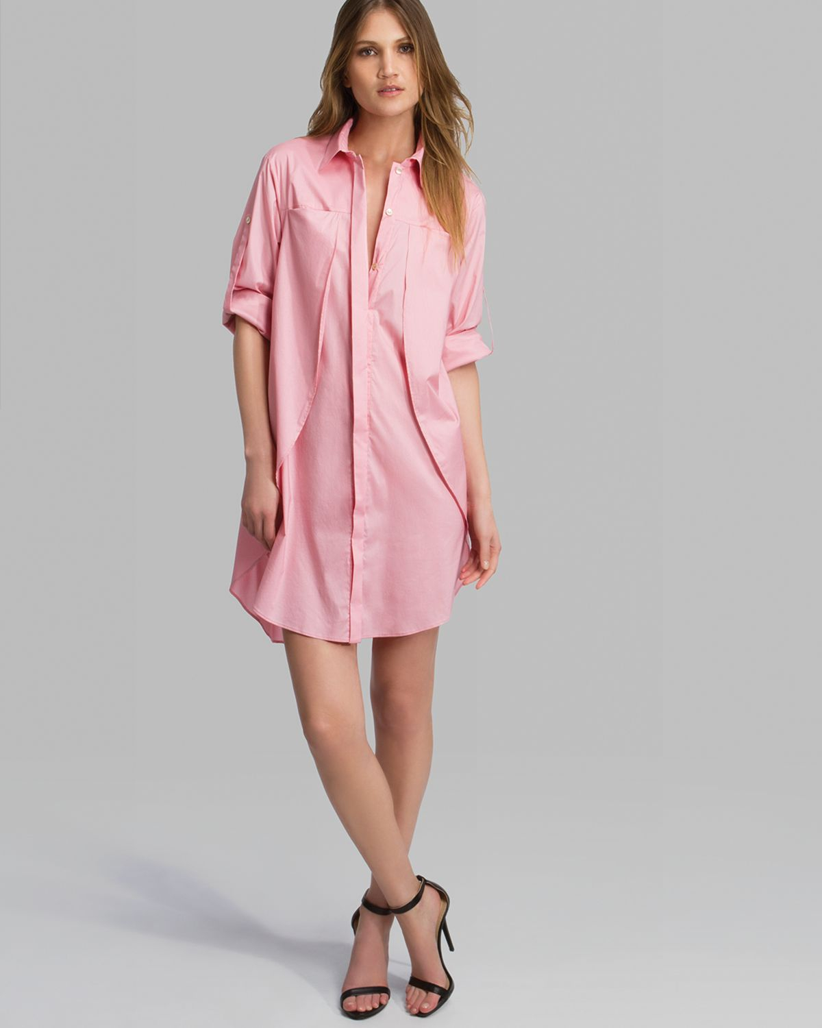 Halston heritage dress belted overlay detail shirt in pink for Halston heritage shirt dress