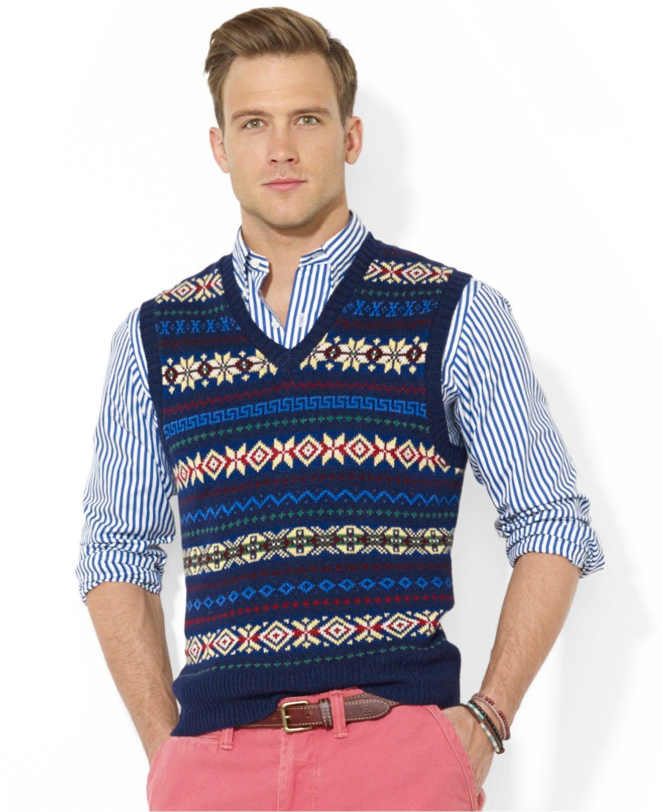 Polo ralph lauren Fair Isle V-Neck Vest in Blue for Men | Lyst
