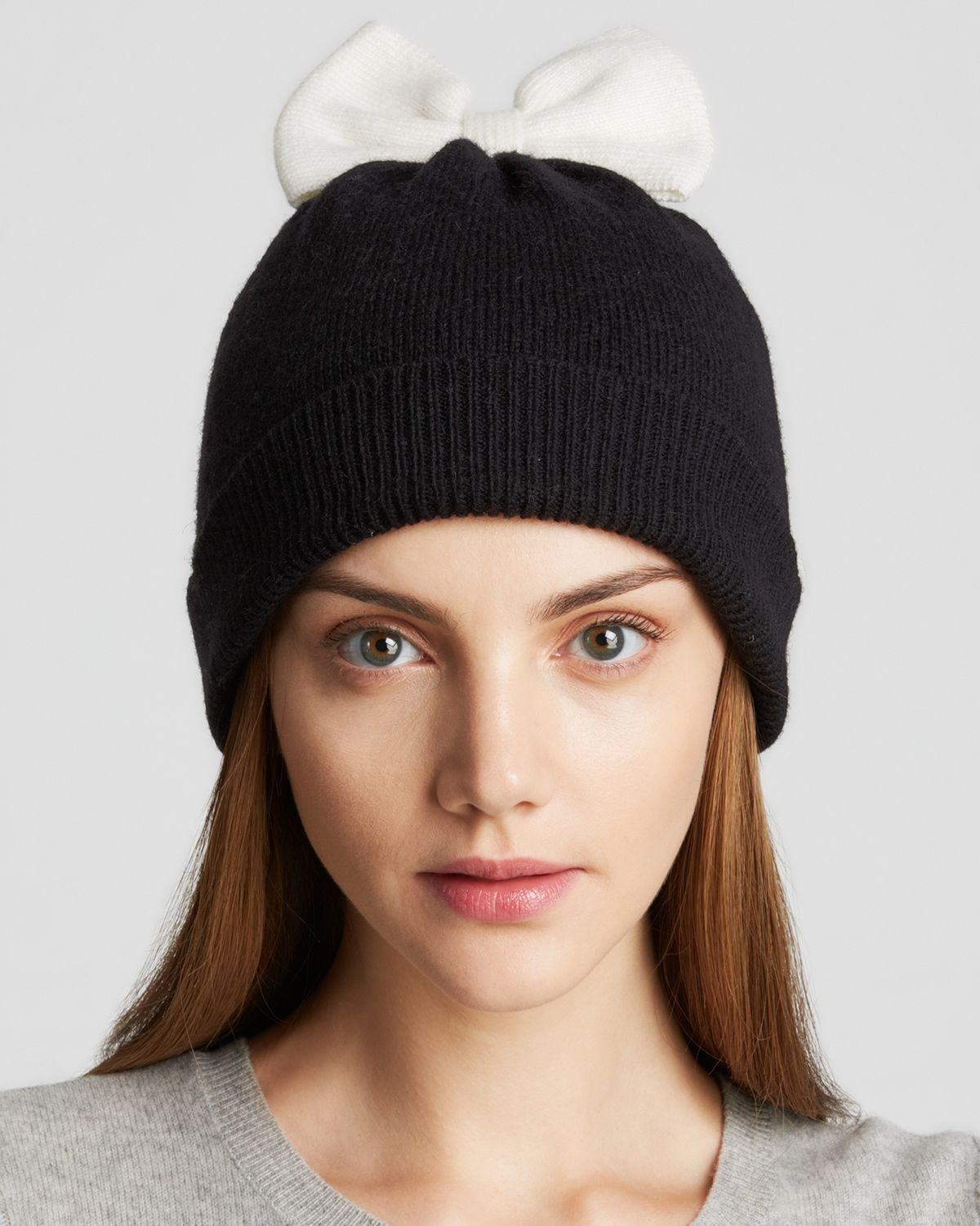 096aab758df Lyst - Kate Spade Colorblock Bow Beanie in Black