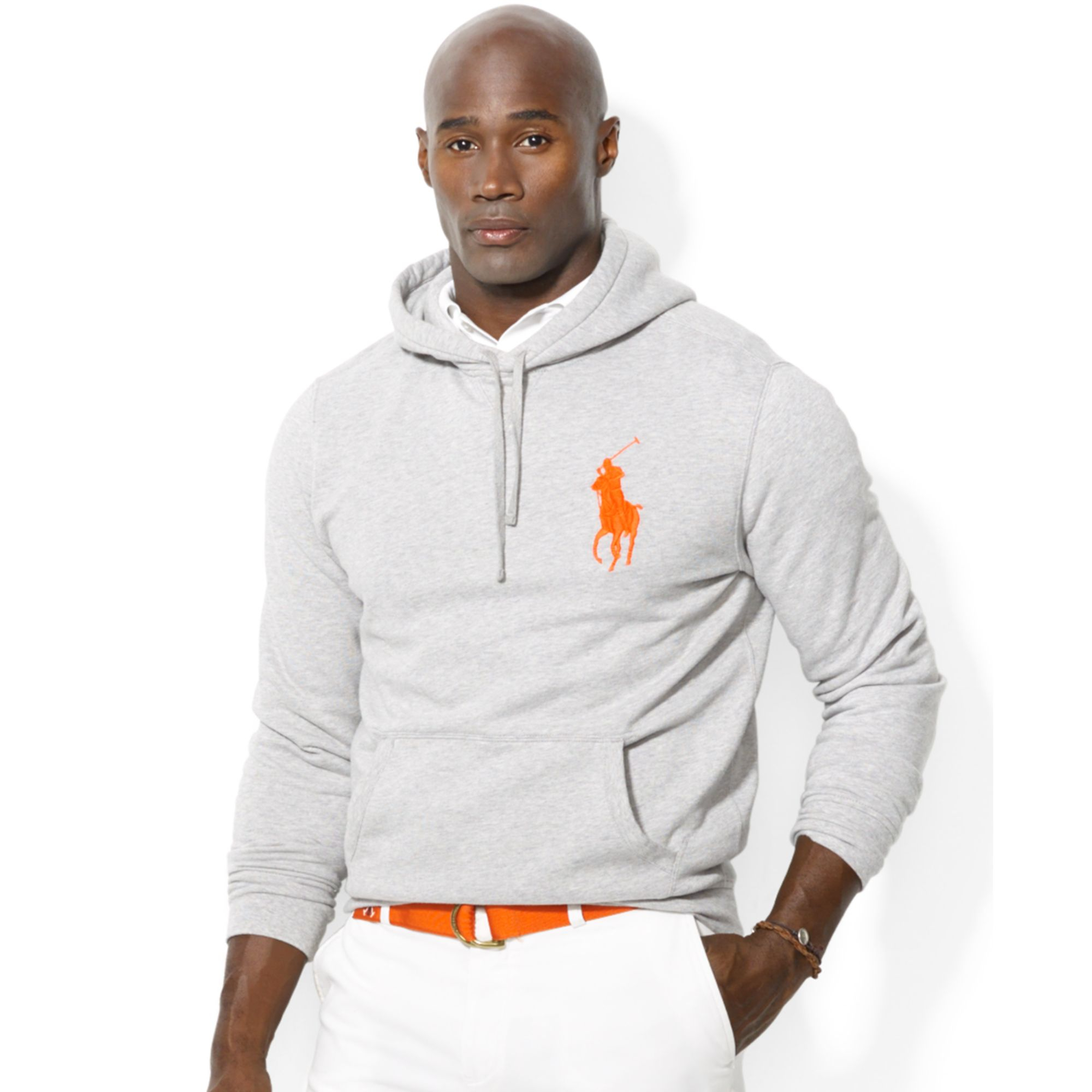 Ralph lauren Polo Big and Tall Big Pony Beach Fleece Pullover Hoodie in Gray for Men