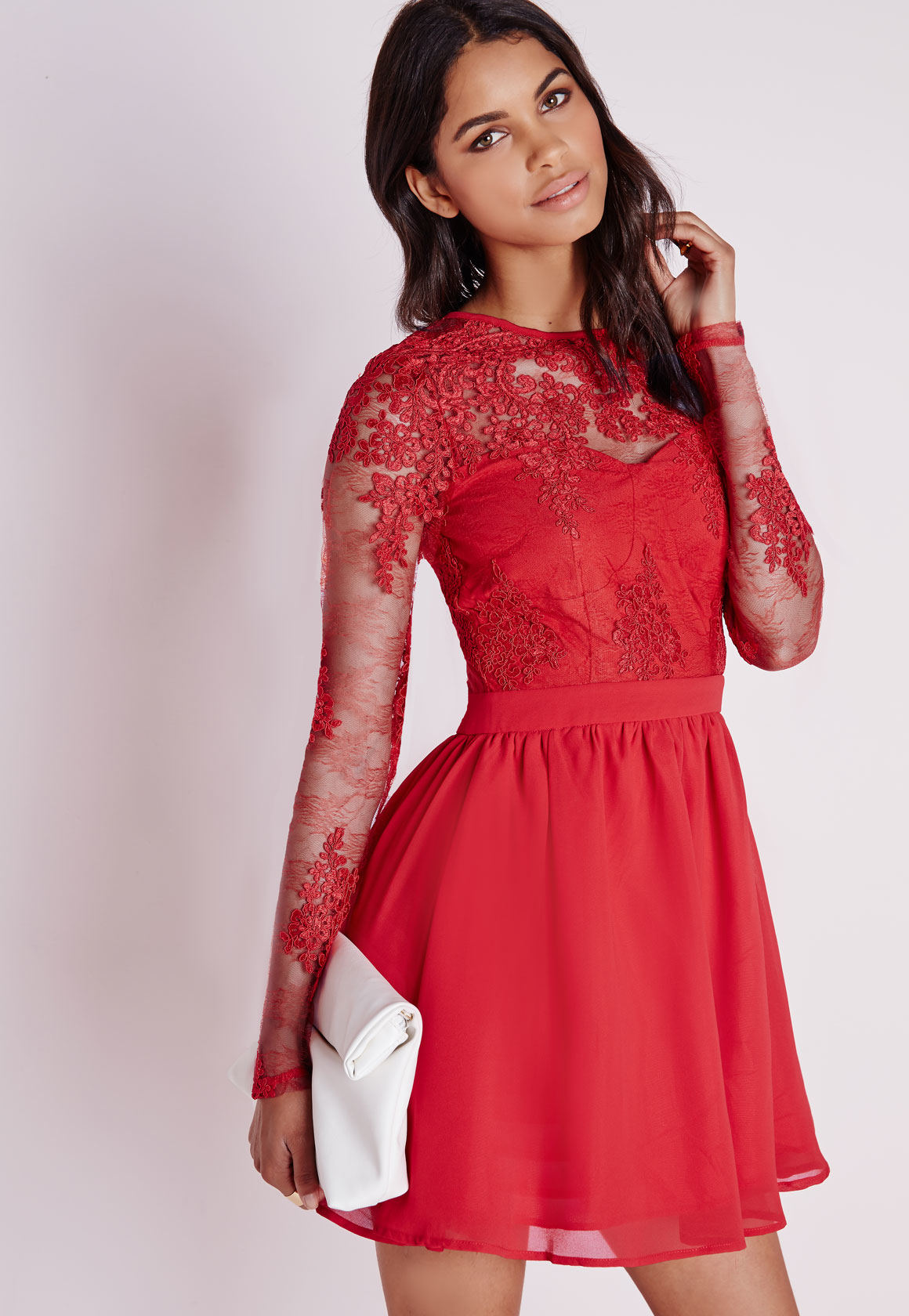 Missguided Premium Lace Long Sleeve Skater Dress Red in Red - Lyst 47e3d88e0