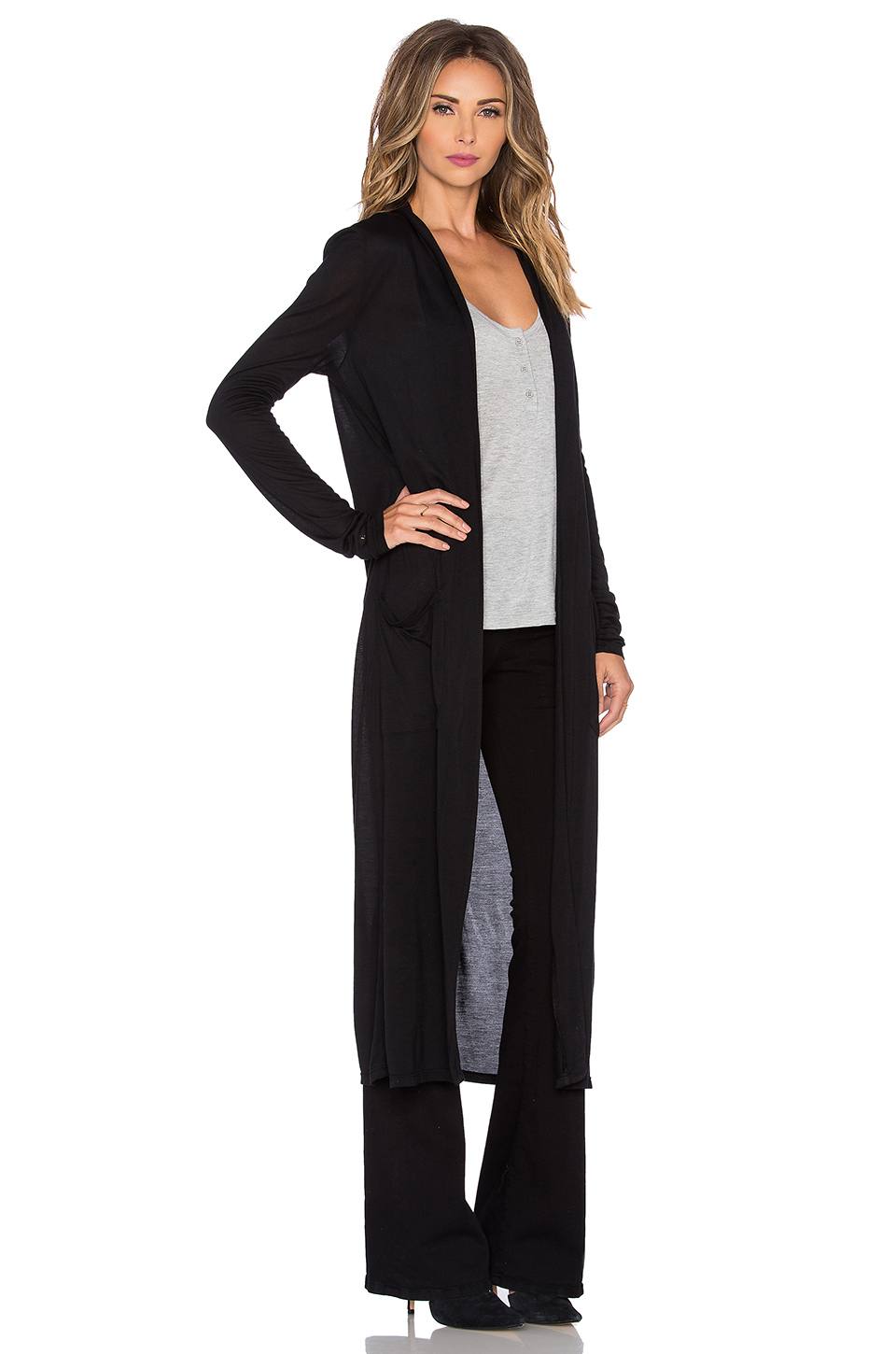 Frame Le Duster Cardigan in Black | Lyst