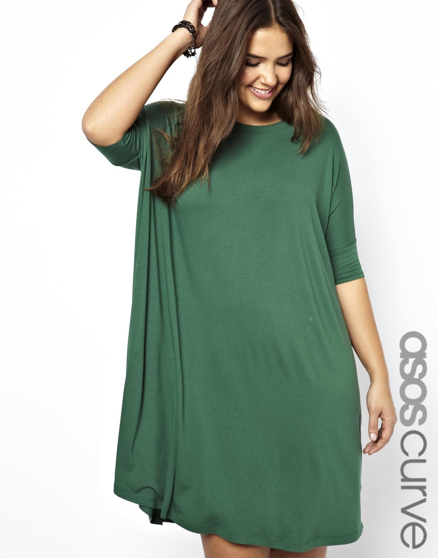 Asos Curve The Tshirt Dress in Green | Lyst