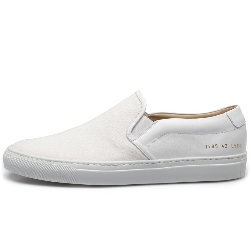 common projects white slip on canvas leather sneakers in