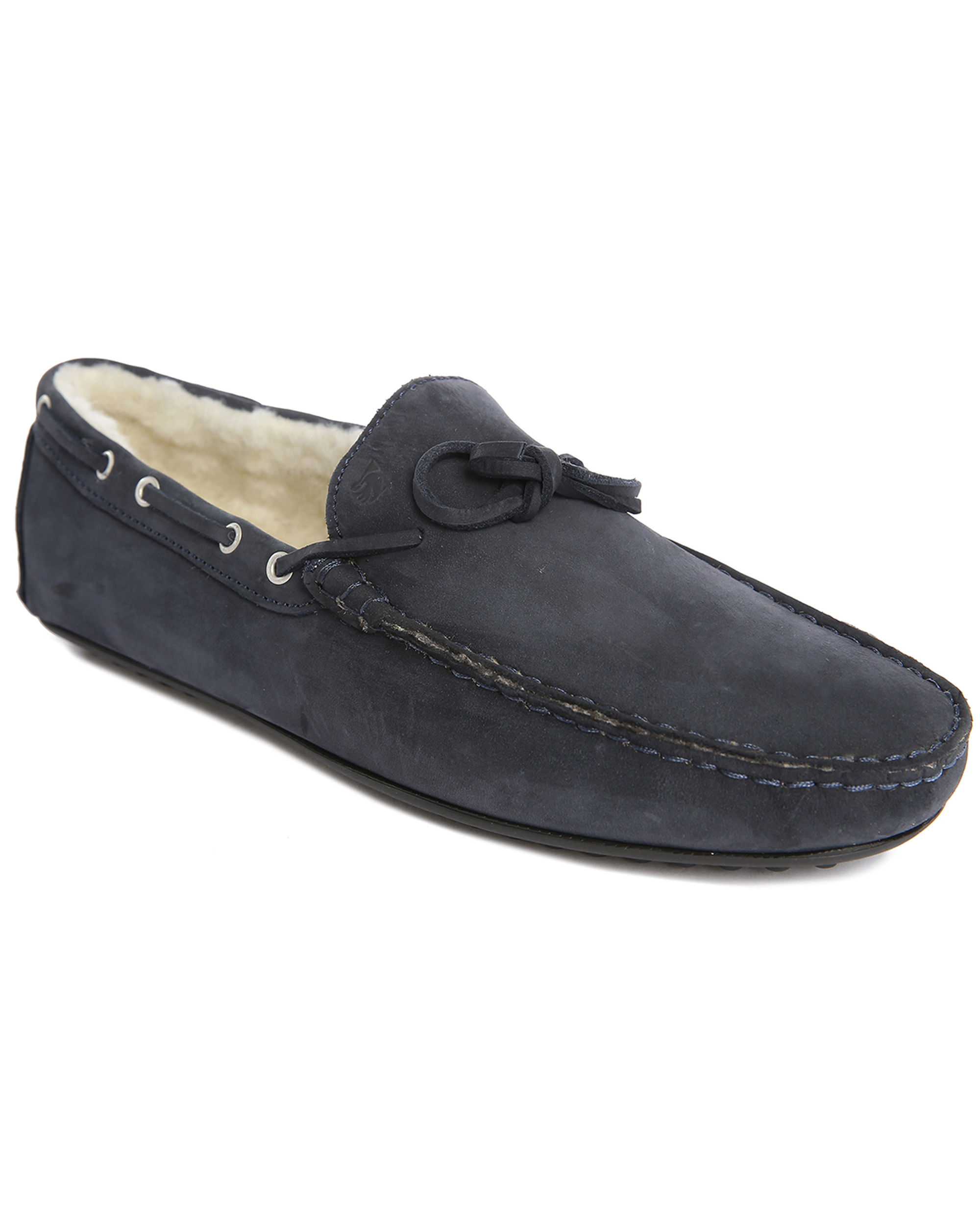Bobbies Le Cosy Navy Nubuck Fur-lined Slip-ons in Blue for ...