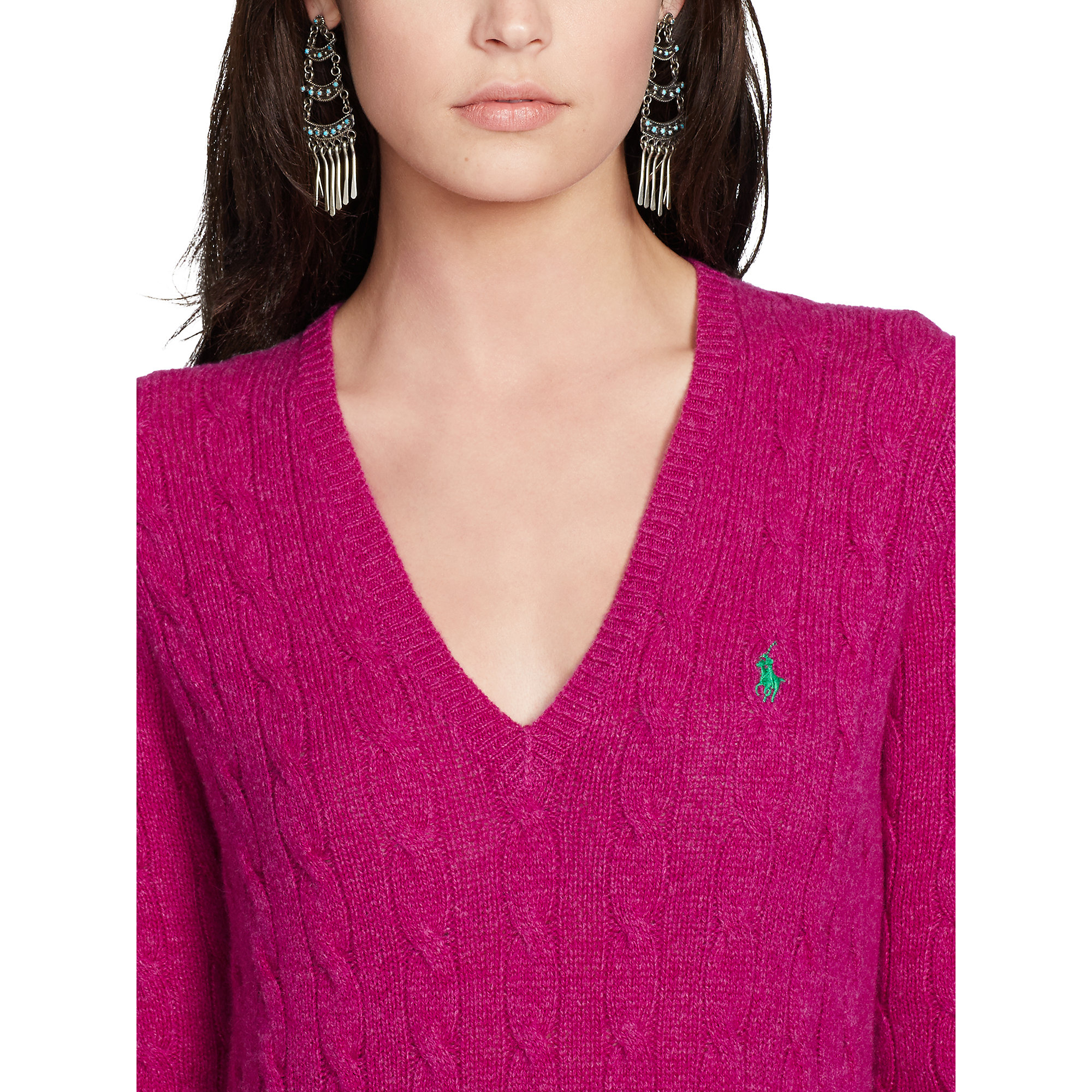 Polo ralph lauren Cable-Knit V-Neck Sweater in Purple | Lyst