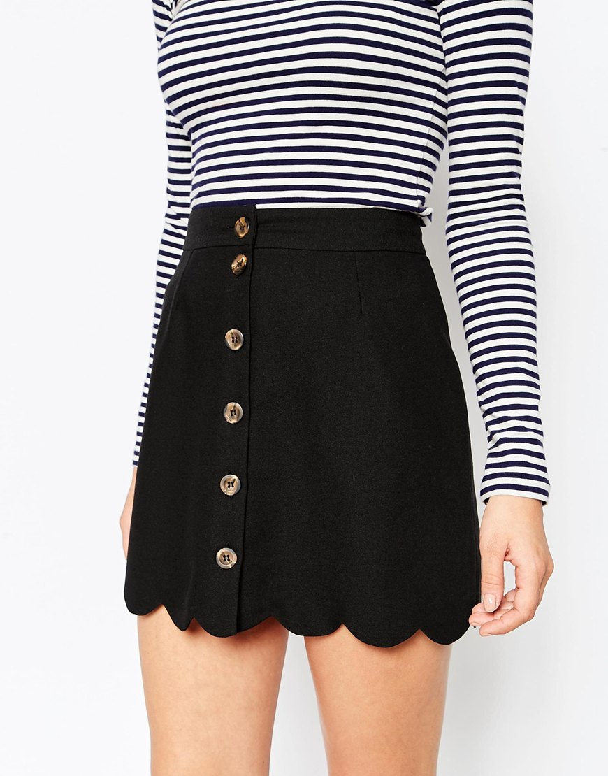 035c35666 ASOS A-line Skirt With Scallop Hem And Button Through in Black - Lyst
