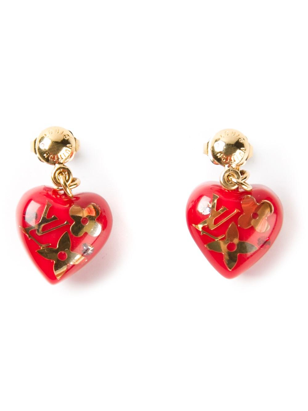 Lyst Louis Vuitton Heart Earrings in Red