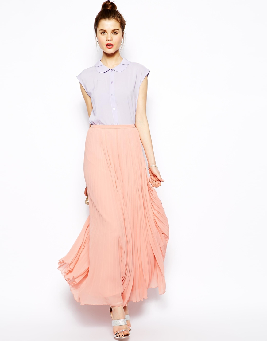 Asos Pleated Maxi Skirt in Pink | Lyst