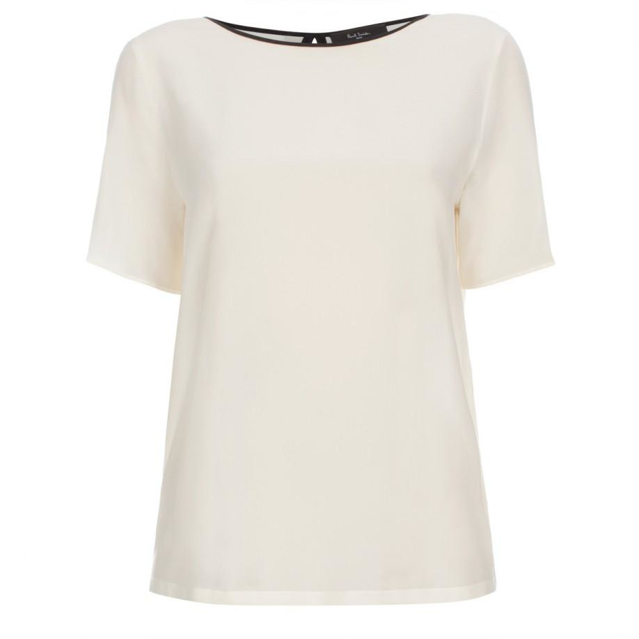 10e6ad6e5d5c Lyst - Paul Smith Women s Cream Silk Top With Pleated Back in Natural