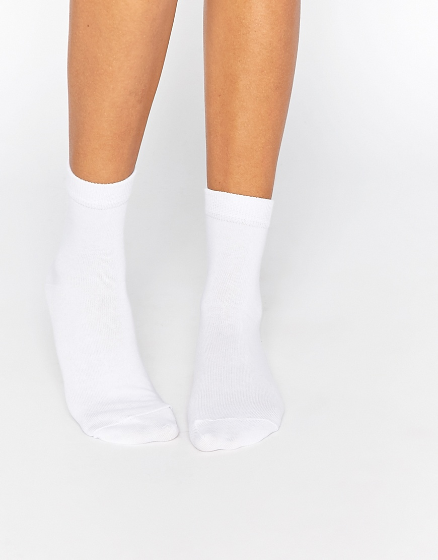 asos 3 pack ankle socks white in white for men lyst