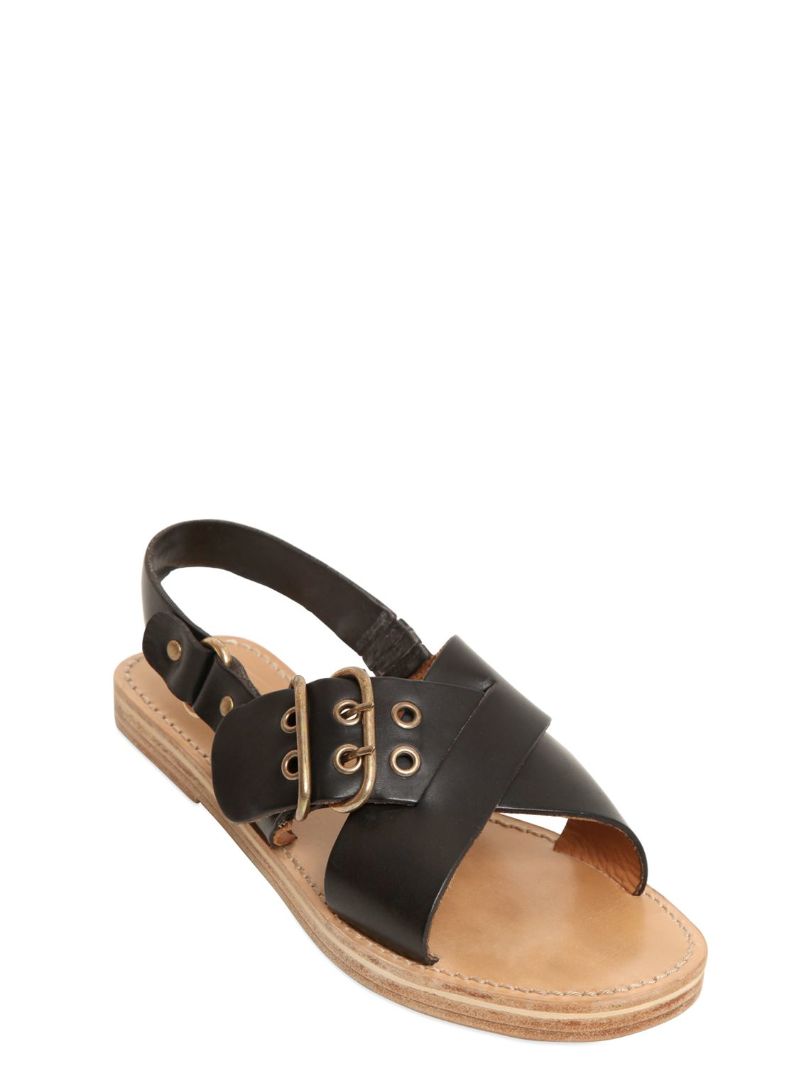 Étoile Isabel Marant Leather Slide Sandals outlet official site IeGg2p