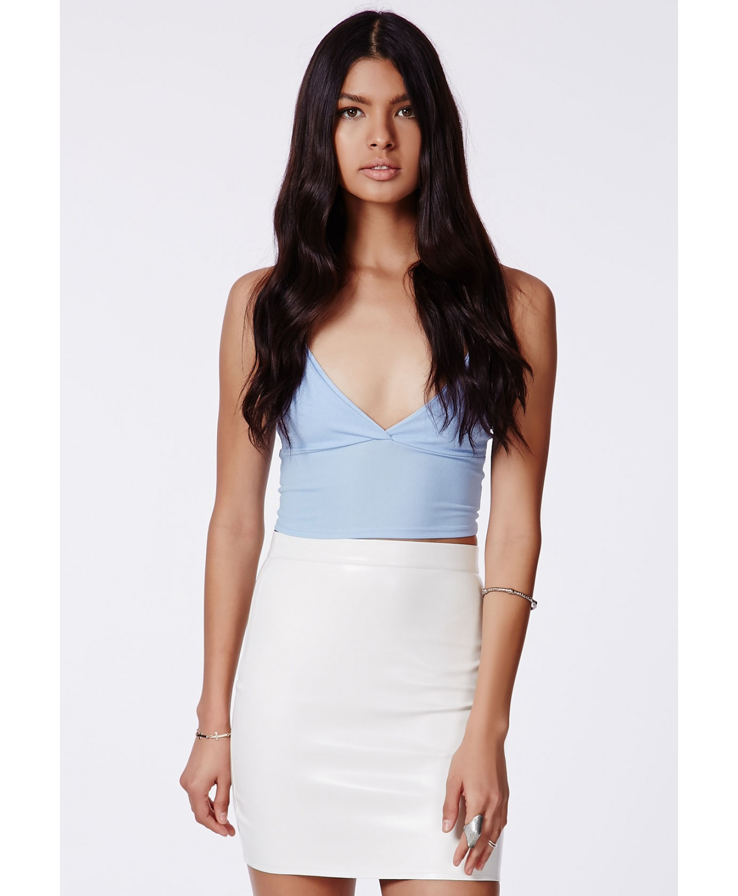 Missguided Rica Faux Leather Bodycon Mini Skirt In White in White ...