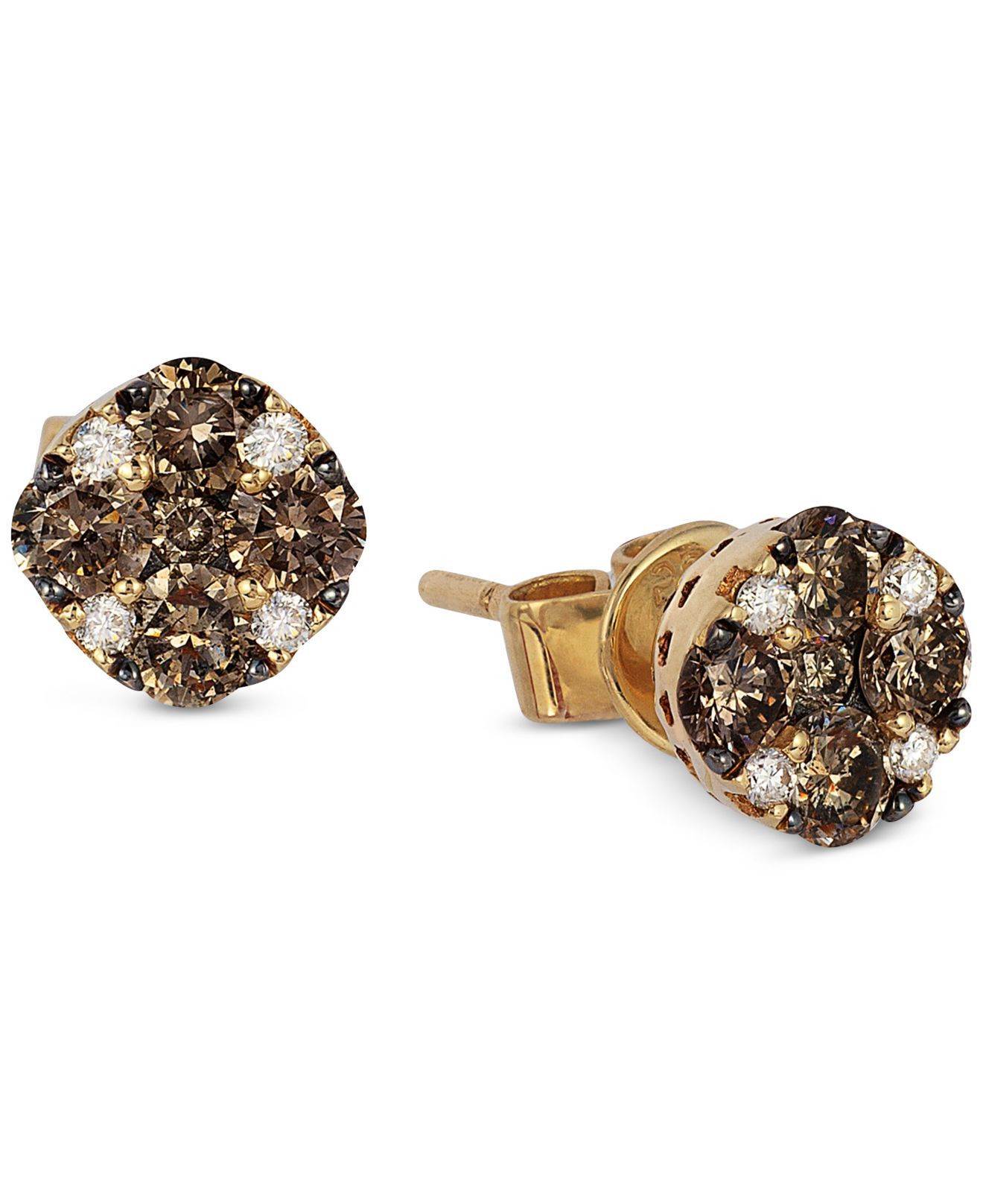 cz l stud earrings diamond tiny cartilage brown