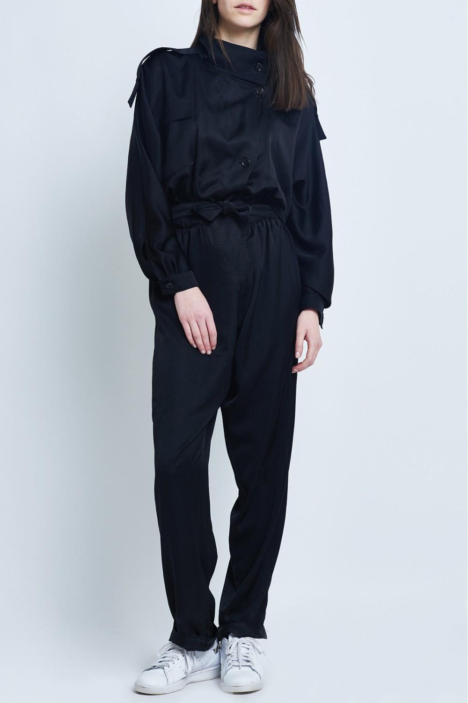 carolina ritz black wool jumpsuit in black lyst
