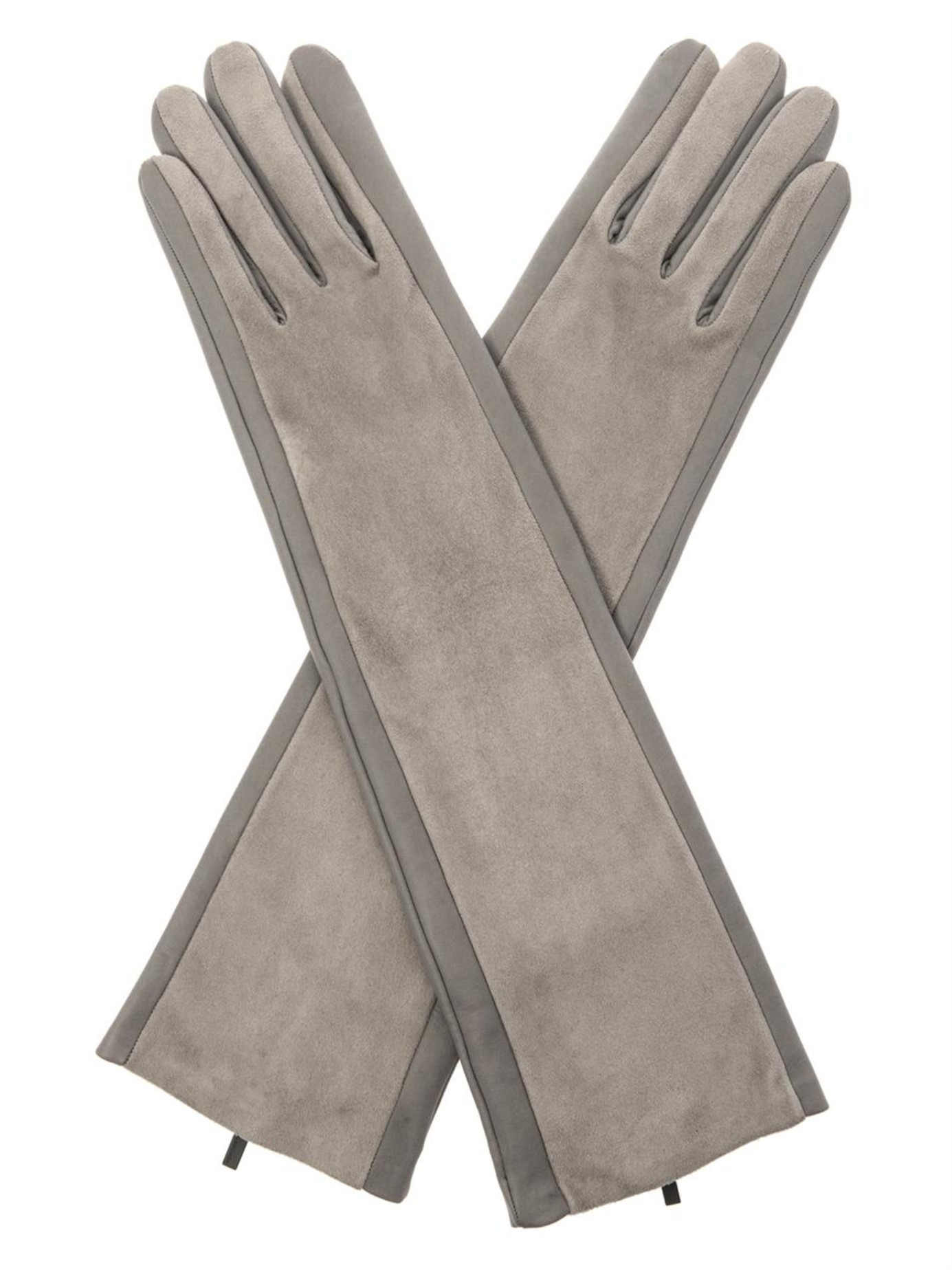 Mens leather gloves grey -  Balenciaga Leather And Suede Long Gloves In Gray Lyst